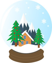 Snow Globe With Christmas Tree Mountains Clipart