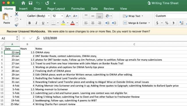 Writing Time Sheet Sample